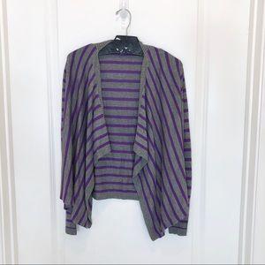 DKNY Purple Gray Striped Cardigan Size XL